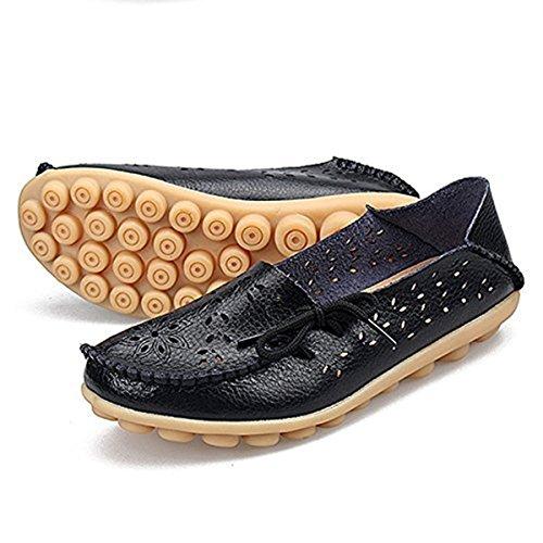 Mocasines De Cuero Goeao Para Mujer De Cuero De Vaca Con Cordones Zapatos De Conducción De Mocasín Casuales Zapatillas Interiores De Deslizamiento Plano 2.black
