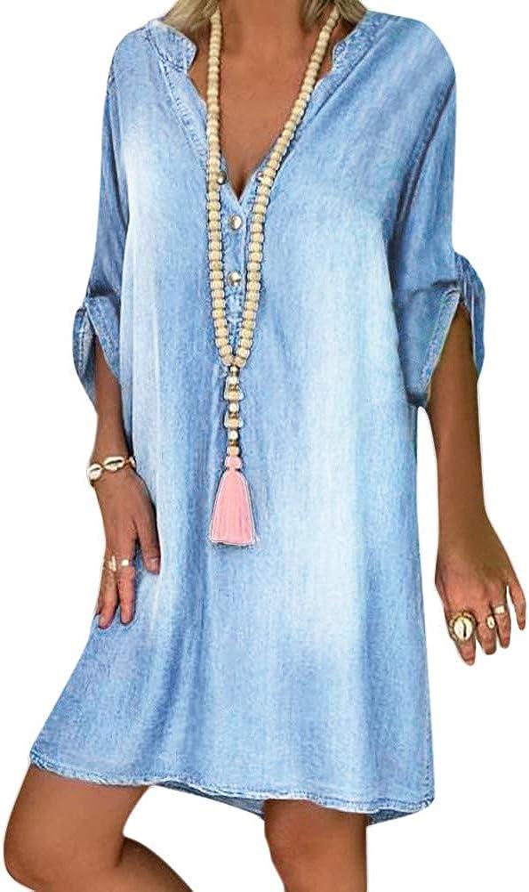 Tomwell Jeanskleid Sommerkleid Damen Jeans Kleider V-Ausschnitt Kurzarm Strandkleider Einfarbig A-Linie Kleid Boho Knielang Kleid Denimkleid Tunika Hemd Blusenkleid