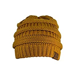Trendy Warm Chunky Soft Stretch Cable Knit Slouchy Beanie Skully, Mustard, One Size