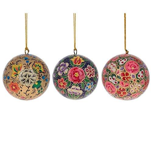 BestPysanky 3'' Set of 3 Floral Oriental Paper Mache Christmas Ball Ornaments by BestPysanky