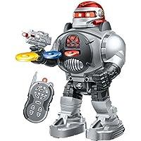 Think Gizmos Robot de control remoto para niños - RoboShooter Robot Toy para niños y niñas de 5 años (plateado)