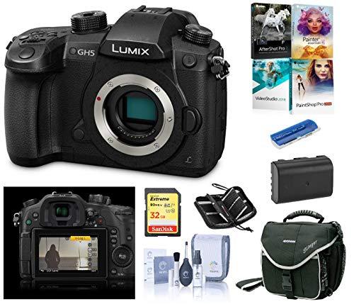 Panasonic LUMIX GH5 4K Mirrorless Digital Camera, DC-GH5 (Black), Bundle with Panasonic V-Log L Function Firmware Upgrade Kit, Cam Bag, Battery, PC Software Kit, 32GB SD Card, SD Case, Cleaning Kit - Memory Card Slot Cleaning Kit