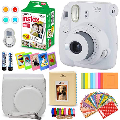 FujiFilm Instax Mini 9 Instant Camera SMOKEY WHITE + Fuji INSTAX Film (20 Sheets) + Custom Camera Case + Instax Album + 60 Colorful Stickers + 20 EMOJI stickers + Fun Frames + 4 Colored Filters + MORE
