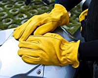 OZERO Driving Gloves, Grain Deerskin Leather Hunting Gloves for Motorcycle/Riding/Shooting/Gardening/Rubbing Jewelry - Extremely Flexible and Sweat-absorbent - Perfect Fit for Men & Women (M/L/XL)