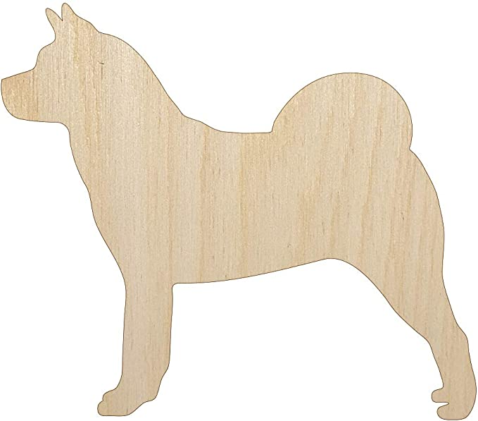 Alaskan Malamute Dog Solid Unfinished Wood Shape Piece Cutout for DIY Craft Projects