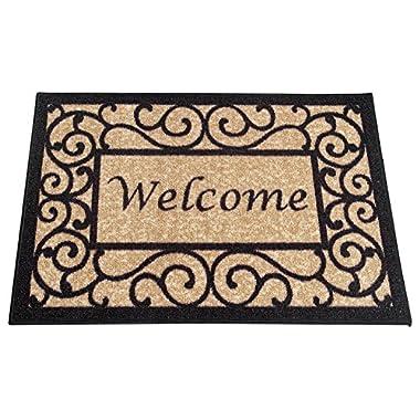 Ottomanson Ottohome Collection Rectangular Welcome Doormat (Machine-Washable/Non-Slip), 20  x 30 , Beige
