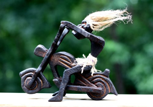 Handmade Wooden Single Primitive Tribal Statue Riding Harley Davidson Tiki Bar Handcrafted Gift Home Decor