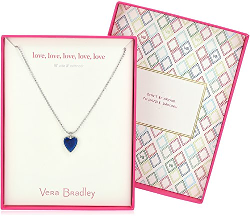 "Vera Bradley Love, Love, Love, Love Silver Pendant Necklace, 16"" + 3"" Extender"