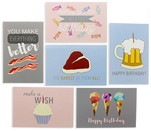 Happy Birthday - 48 Birthday Cards- 6 Designs Bacon, Beer, Steak, Cupcake, Ice Cream & Candy - 48 Envelopes Included 4 x 6 inches