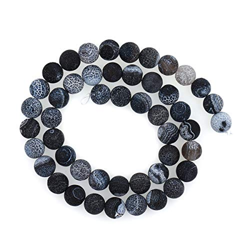 8mm Natural Crackle Agate Beads,Round Black Onyx Gemstone Loose Beads,Fire Agate Charm,DIY Bracelet Findings 1 Strand