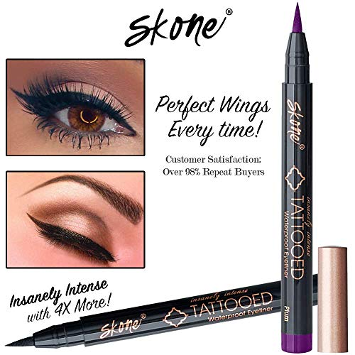 Skone Insanely Intense Tattooed Liquid Eyeliner - Waterproof Longlasting Smudge Proof - Get 4X More (Plum Eyeliner)