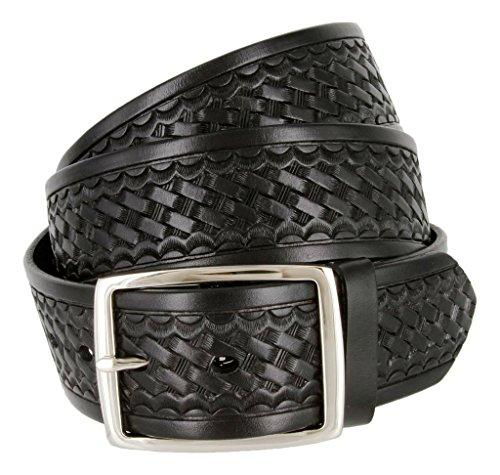 Square Buckle Basketweave Work Uniform Genuine Leather Belt 1.75