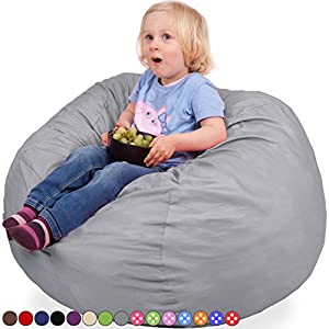 Oversized Bean Bag Chair in Steel Grey - Machine Washable Big Soft Comfort Cover & Memory Foam Filler - Cozy Lounger & Bed - Kids & Teens Love This Huge Sack - Indoor Furniture By Panda Sleep