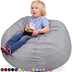 Oversized Bean Bag Chair in Steel Grey - Machine Washable Big Soft Comfort Cover & Memory Foam Filler - Cozy Lounger & Bed - Kids & Teens Love This Huge Sack - Indoor Furniture By Panda Sleep