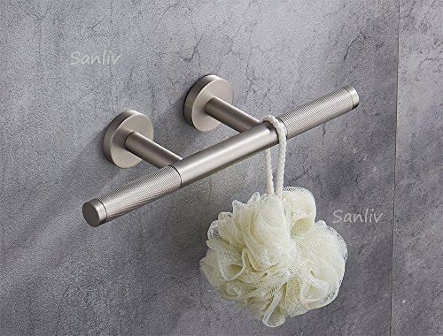 Sanliv Knurled Brass Shower Shaving Foot Rest for Hotel Bathrooms in Brushed Nickel Finish by SANLIV (Image #1)