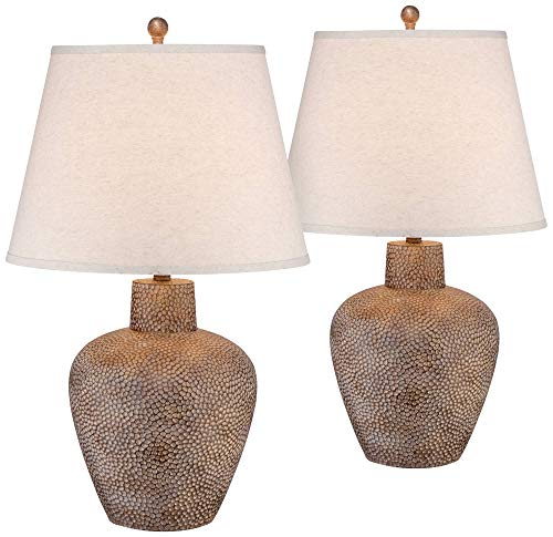 Bentley Rustic Table Lamps Set of 2 Hammered Pot Washed Brown Off White Empire Shade for Living Room Family Bedroom - Franklin Iron Works