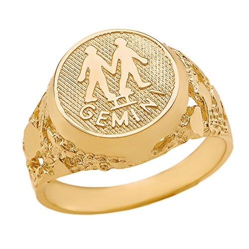 Solid 14k Yellow Gold Gemini Zodiac Sign Band Nugget Men's Ring (Size 12) 14k Yellow Gold Zodiac Sign