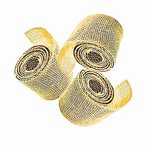 AAYU Brand Premium 3 Pack Burlap Ribbon Roll (Wide) | 2 inch x 5 Yards Each No Fray Eco-Friendly, Natural Jute Product