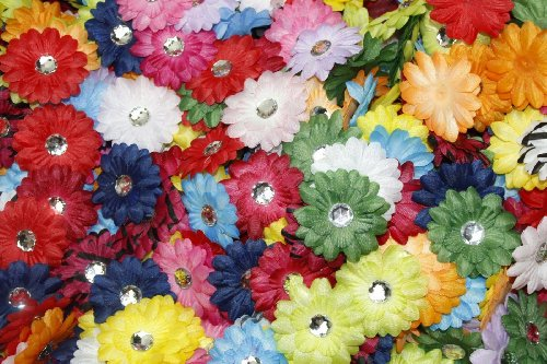 Flower Felt Adhesive - (100) in a Bag Soft Mini Daisy Flowers~2