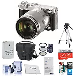 Nikon 1 J5 Mirrorless Digital Camera with 1 Nikkor10-100mm VR Lens, Silver - Bundle w/Case, 32GB MicroSDHC, 55mm Filter Kit (UV/CPL/ND2), Spare Battery, Cleaning Kit, Screen Protector, Memory Wallet