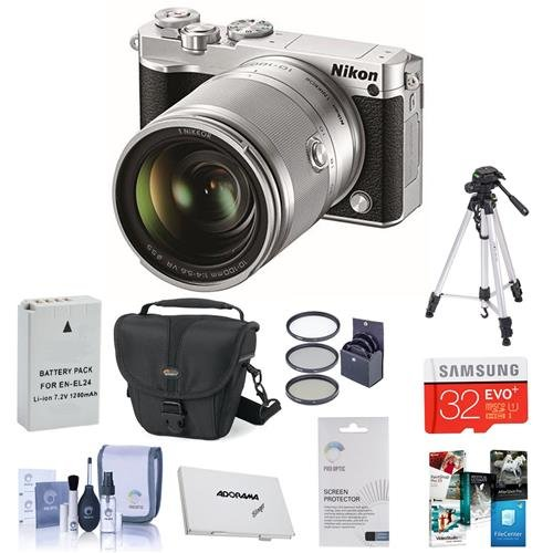 Nikon-1-J5-Mirrorless-Digital-Camera-with-1-Nikkor10-100mm-VR-Lens-Silver-Bundle-wCase-32GB-MicroSDHC-55mm-Filter-Kit-UVCPLND2-Spare-Battery-Cleaning-Kit-Screen-Protector-Memory-Wallet
