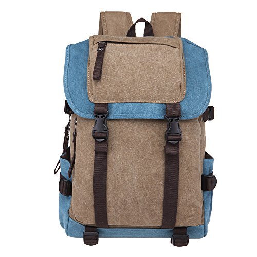 Minetom Lona Backpack Mochilas Escolares Mochila Escolar Casual Bolsa Viaje Moda Plaza Colegio Universitario Estilo Caqui & Cielo Azul