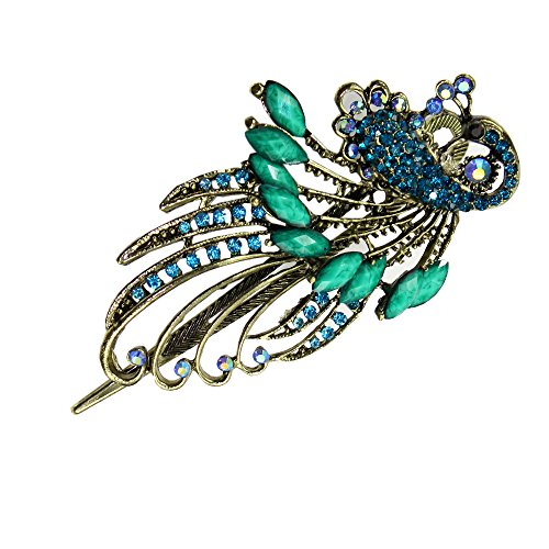 Newstarfactory Vintage Fascinator Rhinestone Peacock Design Alligator Hair Clip with Exclusive Gift