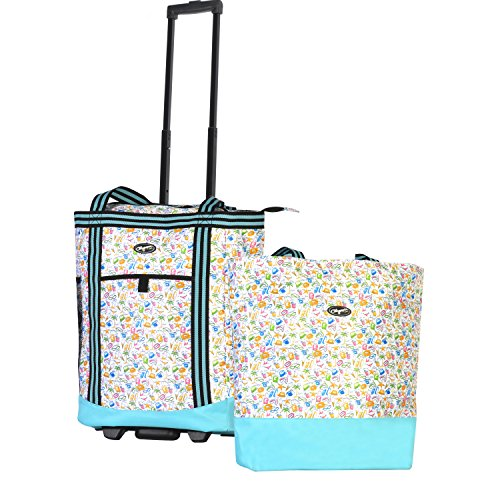 Olympia 2-Piece Rolling Shopper Tote and Cooler Bag, Beach