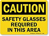 Safety Glasses Required In This Area, Aluminum Sign, 10'' x 7''