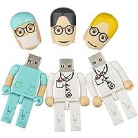 3 Pieces 8GB Doctor Surgeon Shape Cartoon USB Flash Drive Data Storage Memory Stick (Green White)