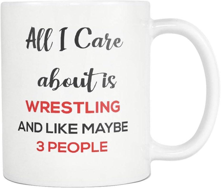 jingqi Wrestling Coffee Mug Cup Todo lo Que me Importa es la Lucha Libre 11 oz Ideas de Regalos Divertidos para mamá jubilada Papá Abuela Abuelo Madre Día del Padre Hombres Mujeres Camisa