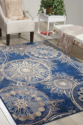 Sunburst Contemporary Area Rugs (Nourison Somerset ST764 Modern Bohemian Denim Blue Area Rug 7 Feet 9 Inches by 10 Feet 10 Inches , 7'9