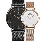 STARKING Women's Minimalist Ultra Thin Rose Gold Watch BL0997 Analog Japanese Quartz Stainless Steel Mesh Watch …