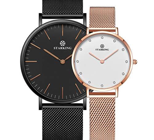 STARKING Women's Minimalist Ultra Thin Rose Gold Watch BL0997 Analog Japanese Quartz Stainless Steel Mesh Watch … by STARKING