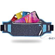 "Tenplus Running Belt Waist Pack Compatible Sharp A2 Lite FS8026 5.7"", Ultra-Slim Waterproof Reflective Fanny Pack with Adjustable Elastic Strap, Headphone Jack for Travel Workout Jogging (Blue)"