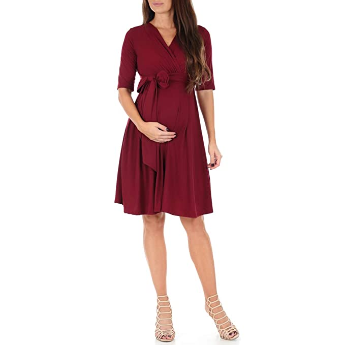 Knee Length Wrap Maternity Dress with Belt