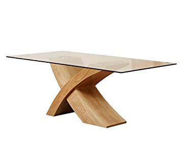 Home Glass Top Oak Cross Base Dining Table W Leather Chairs - Glass top dining table seats 6
