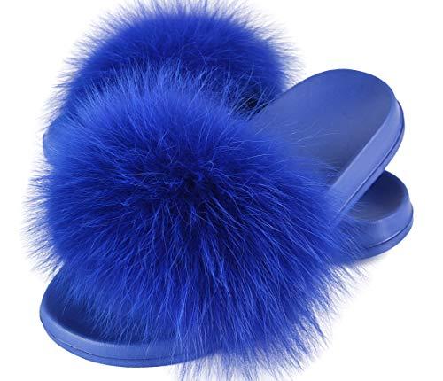 HIPRETTYUS Hipretty Women's Real Fox Fur Slides, Open Toe Cute Fur Slippers, Indoor or Outdoor Comfortable Furry Fur Slide Sa