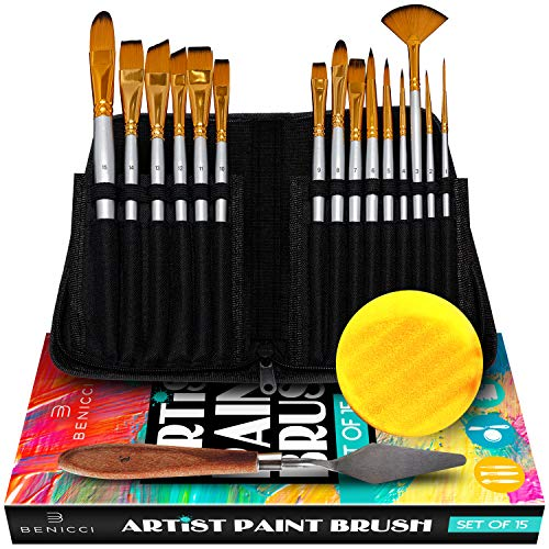 Artist Paint Brush Set - 15 Different Shapes & Sizes - Free Painting Knife & Watercolor Sponge - No Shed Bristles - Wood Handles - for Creative Body Paint, Acrylics & Oil