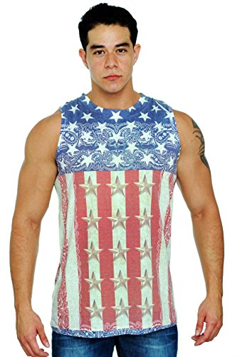 Hillbilly Wedding Costume (Men's USA Flag Tank Top Sublimated Western Design: XL)