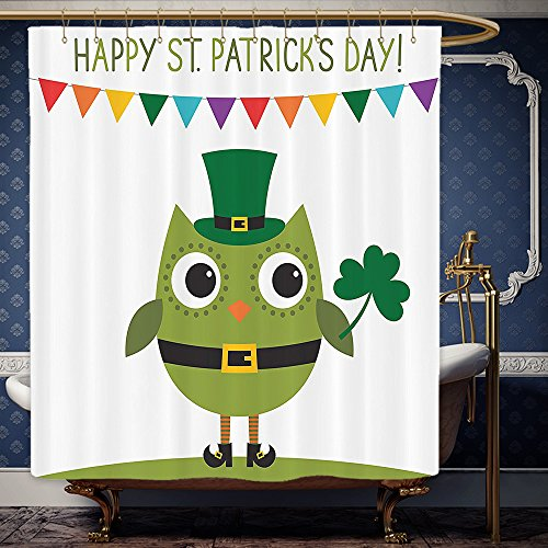 Wanranhome Custom-made shower curtain St. Patricks Day Owl with Leprechaun Costume Greeting Design for Party Shamrock White and Olive Green For Bathroom Decoration 48 x 72 (Minion Do It Yourself Costume)