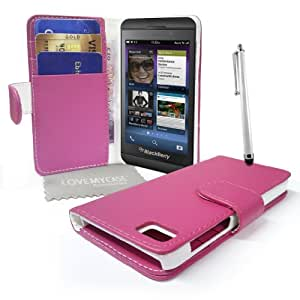 Pink Leather Wallet Case w/Stitching for BB Z10 w/Screen Protector/Stylus