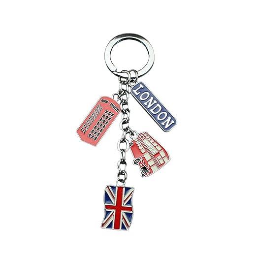 LUOEM Llaveros de Londres Reino Unido Recuerdo Llaveros Llavero de Metal Bandera de Union Jack Llavero Llavero de Coche Bolsa Encantos de Teléfono