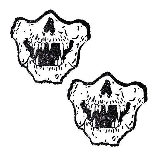 Neva Nude Awesome Glitter Glow Blacklight Vampire Skull Pasties Nipple Covers -