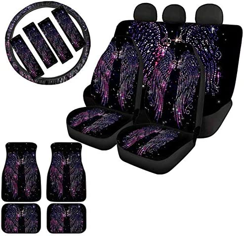 Showudesigns Car Seat Cover Full Set Bling Angel Wing Print Floor Mats Front Back Blanket with Steering Wheel Cover Universal 15 Inch & Seat Belt Cover for Sedan, SUV, Trunk Galaxy Black