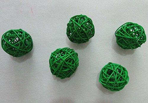 4pcs 100% Handmade Wicker Rattan Balls, Garden, Wedding, Party Decorative Crafts, Vase Fillers, Rabbits, Parrot, Bird Toys (10CM, 6# Deep Green) by USFEEL