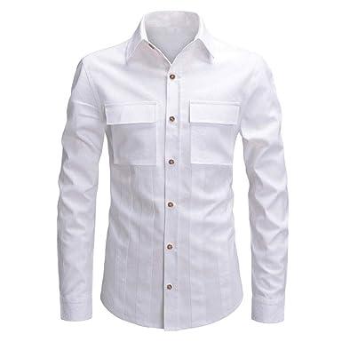 super popular fcb75 35e0f Camicia Uomo Slim Fit Manica Lunga Elegante Magliette Uomo ...