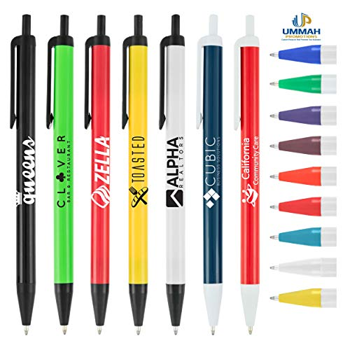 500 Personalized Biz Click Pen Printed with Your Logo, Contact Info or Message