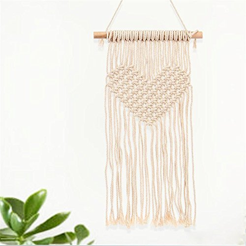 Modern Incarnate Knitted Heart Tapestries- Handmade Knitted Heart Tapestries- Macrame Wall Hanging Tapestry- Heart Shaped Woven Home Décor- Perfect for Baby's Room, Dorm, Living Room - Décor Art