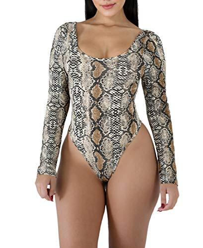 Bodysuit for Women Snakeskin Steaming Thong - Long Sleeve High Cut jumpsuits for ()
